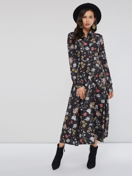 Floral Prints Long Sleeve Women's Maxi Dress