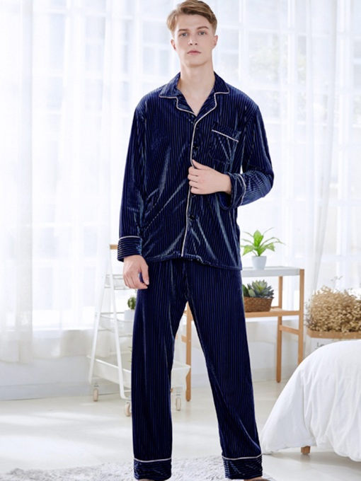 Lapel Plain Simple Men's Pajama Set