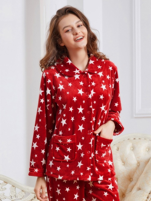 Women's Star Velvet Thicken Long Pajama Set