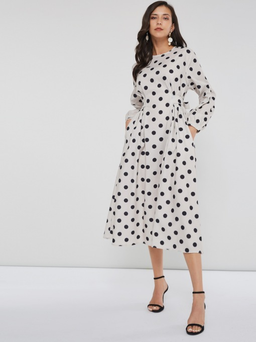 Lace-Up Polka Dots Women's Long Sleeve Dress