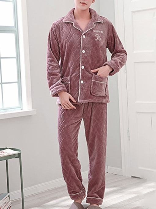 Lapel Velvet Long Men's Pajama Set