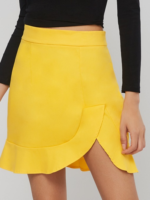 Ruffled Bodycon Plain Women's Mini Skirt