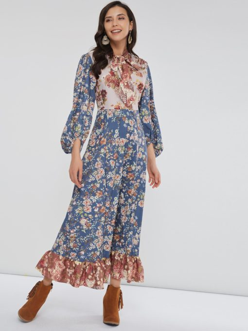 Bohemian Prints Long Sleeve Women's Maxi Dress