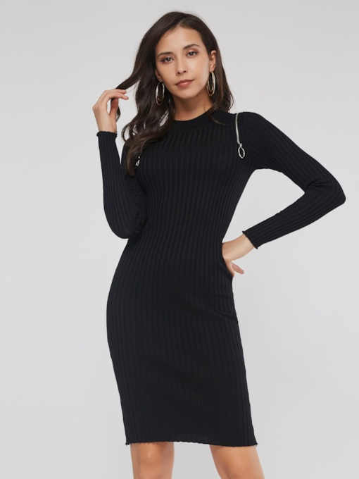 Stand Collar Bodycon Thread Women's Long Sleeve Dress