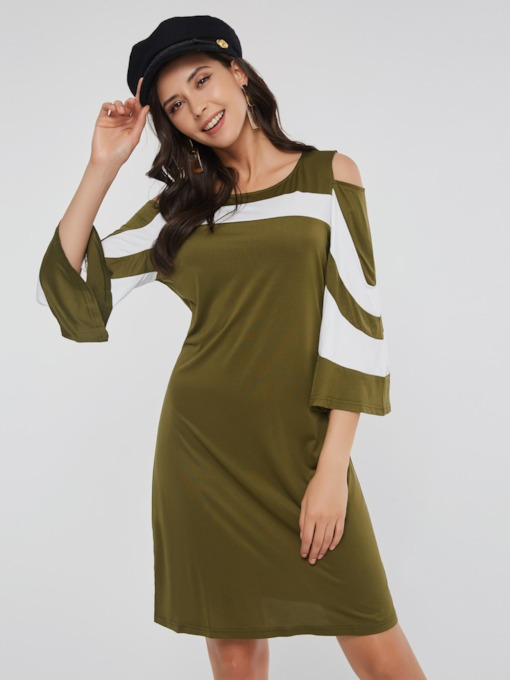 Casual Flare Sleeve Hollow Women's Day Dress