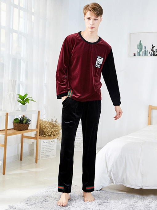 Round Neck Pullover Long Sleeve Simple Men's Pajama Set