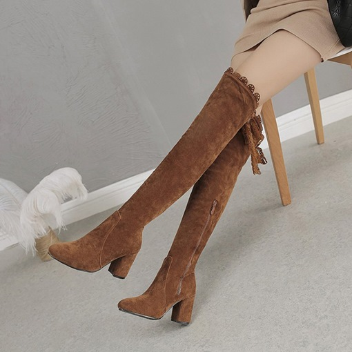 Lace-Up Back Chunky Heel Round Toe Casual Thigh High Boots