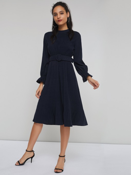 Stand Collar Belt Women's Long Sleeve Dress