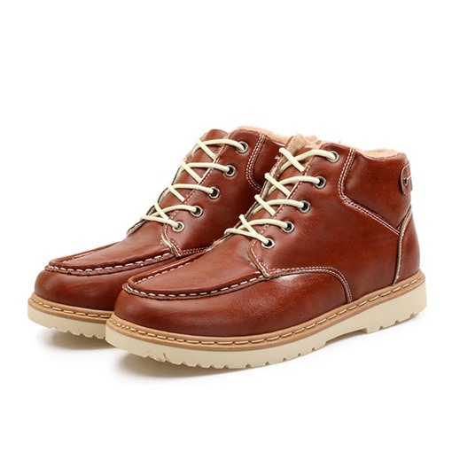 Round Toe Lace-Up Front Short Floss Ankle Snow Boots for Men