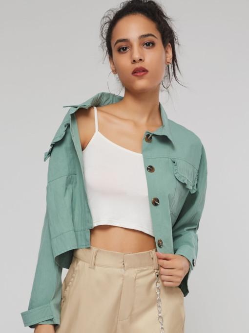 Plain Lapel Single-Breasted Pocket Women's Jacket