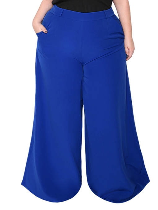 Casual Plus Size Wide Legs Women's Pants