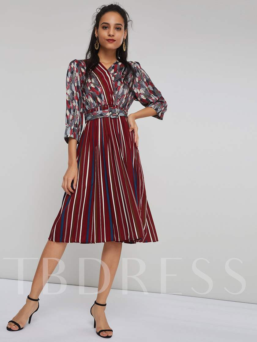 Stripe Print 3/4 Length Sleeves Women' Day Dress