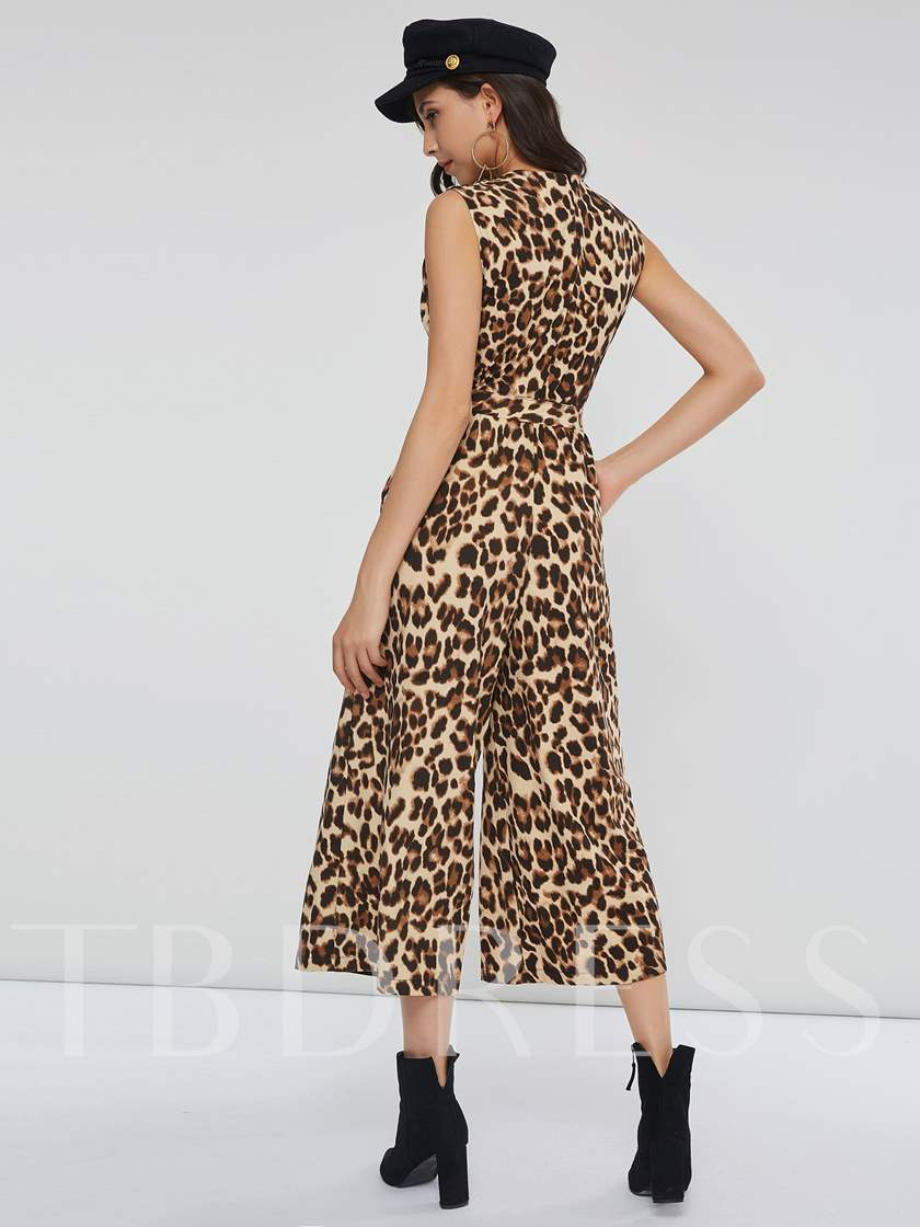 Leopard Print Lace-Up Slim Women's Jumpsuit