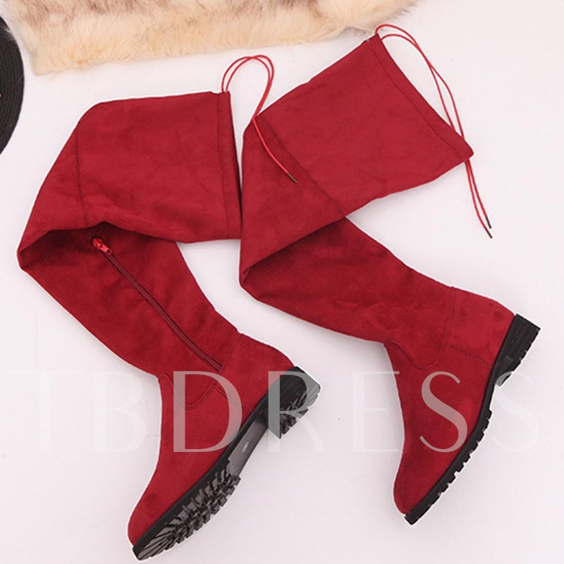 Suede Round Toe Side Zipper Block Heel Lace-Up Casual Knee High Boots