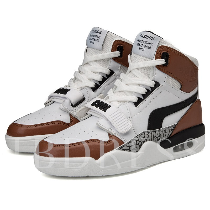 Mesh Lining Lace-Up Round Toe High Top Trendy Men's Skateboard Shoes