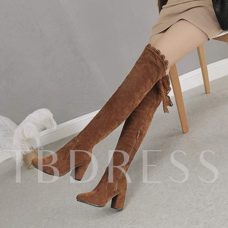 Lace,Up Back Chunky Heel Round Toe Casual Thigh High Boots