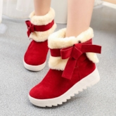 Christmas Slip-On Bow Elevated Snow Boots