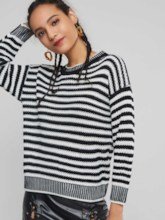 Loose Color Block Stripe Pullover Women's Sweater