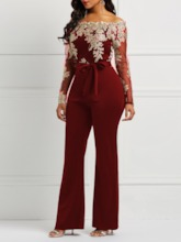 Full Length Patchwork Slim Women's Jumpsuit