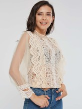Lace Stand Collar See-Through Women's Blouse