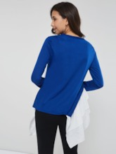 Color Block Falbala Patchwork Mid-Length Women's T-shirt