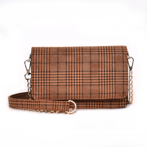 PU Thread Plaid Rectangle Women Crossbody Bags