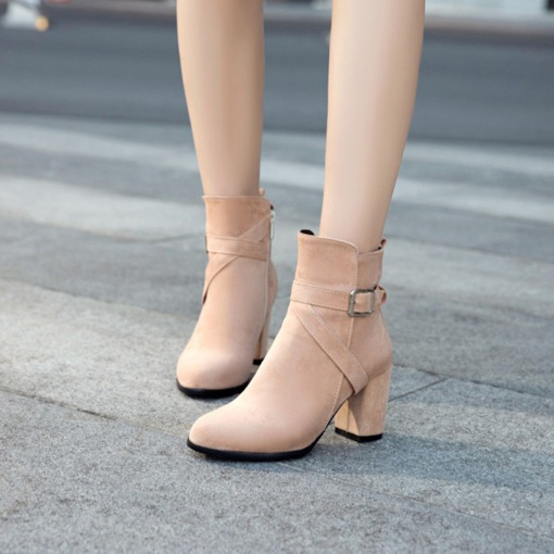 Suede Round Toe Front Zipper Buckle Ladylike Women's Ankle Boots