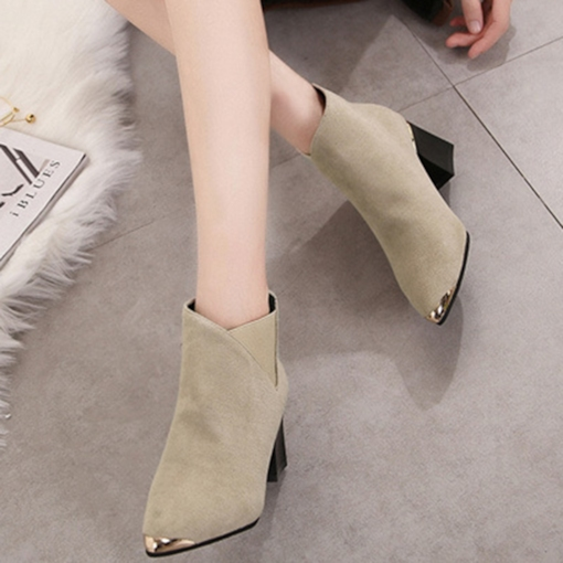Chunky Heel Back Zip Pointed Toe Patchwork Trendy Ankle Boots