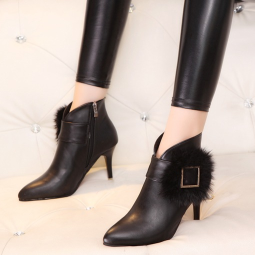 Pointed Toe Side Zipper Buckle Stiletto Heel Classical Ankle Boots
