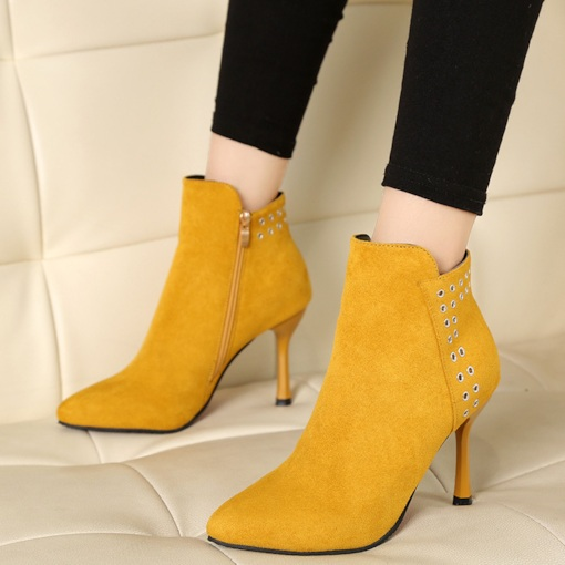 Pointed Toe Side Zipper Stiletto Heel Short Floss Ankle Boots
