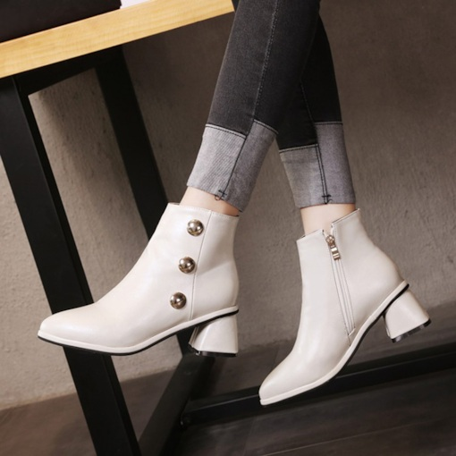 Pointed Toe Side Zipper Rivet Chunky Heel Casual Ankle Boots