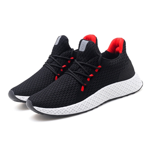 Mesh Lace-Up Round Toe Casual Men's Running Shoes
