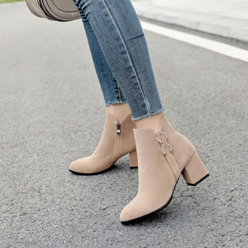 Chunky Heel Side Zipper Round Toe Casual Ankle Boots