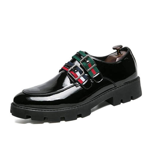 Buckle Round Toe PU Color Block Professional Men's Oxford