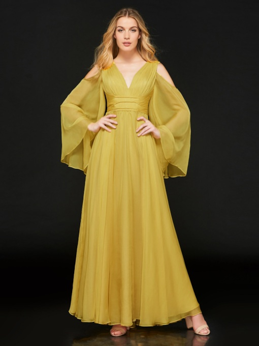 Long Sleeves V-Neck Pleats Empire Waist Evening Dress