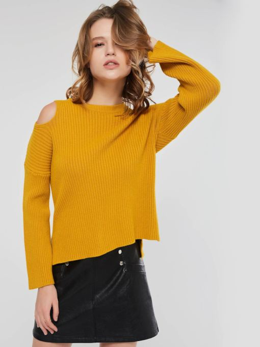 Slim Plain Hollow Pullover Women's Sweater