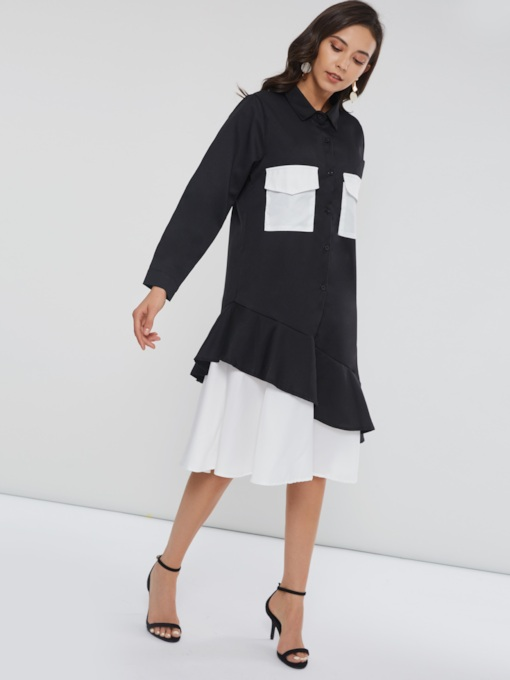 Patchwork Pocket Women's Long Sleeve Dress