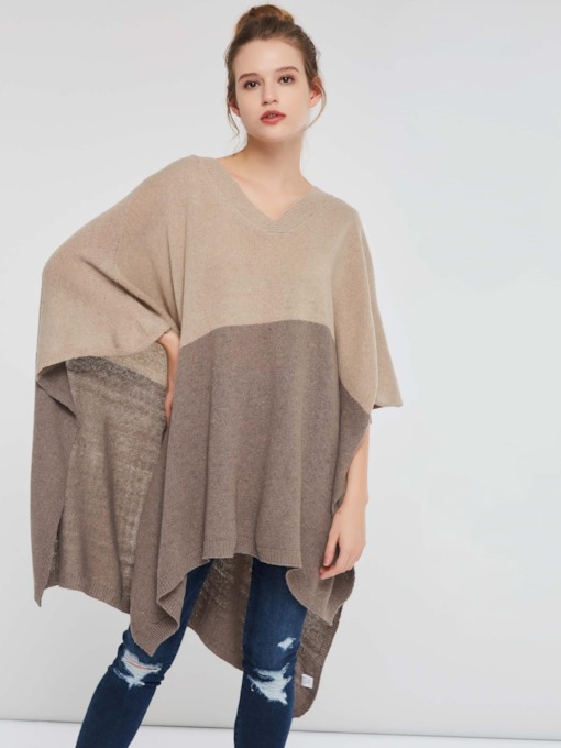 Color Block Pullover Women's Knitted Cape