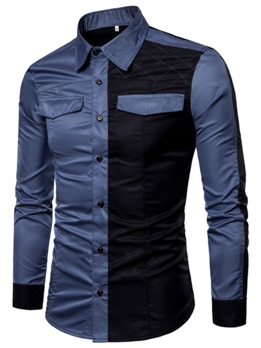 Slim Color Block Patchwork Men's Shirt