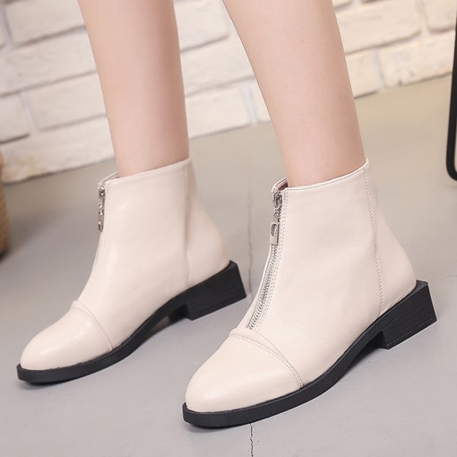 Round Toe Front Zipper Block Heel Casual Women's Ankle Boots