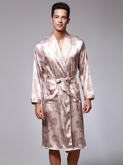 Print Slim Lace-Up Men's Night Robe