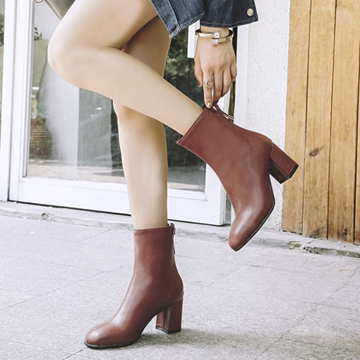 Round Toe Back Zip Chunky Heel Plain Chic Women's Ankle Boots