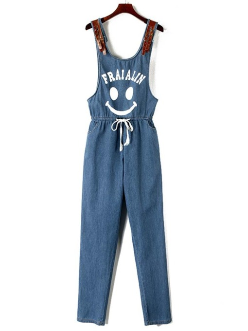 Letter Smile Print Slim Lace-Up Women's Jumpsuit