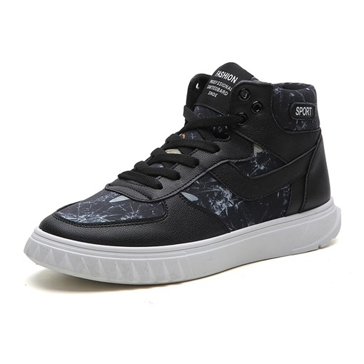 Lace-Up Round Toe High Top Trendy Prints Men's Sneakers