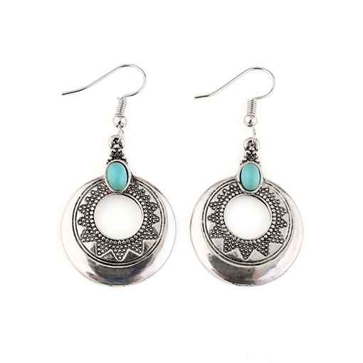 Hollow Out Turquoise Inalid Bohemian Earrings