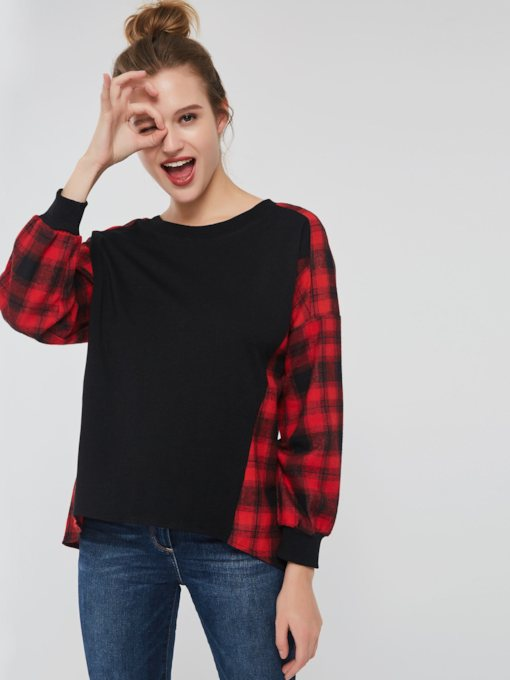 Loose Color Block Plaid Women's T-shirt