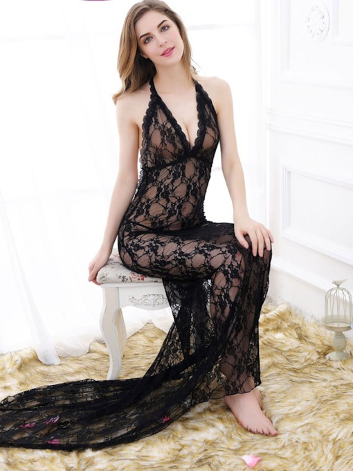 Halter Backless V-Neck Floor-Length Sexy Dresse