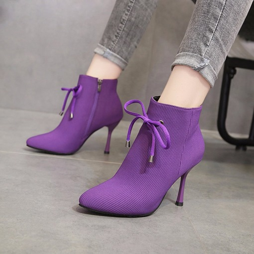 Spandex Side Zipper Pointed Toe Stiletto Heel Bow Ankle Boots