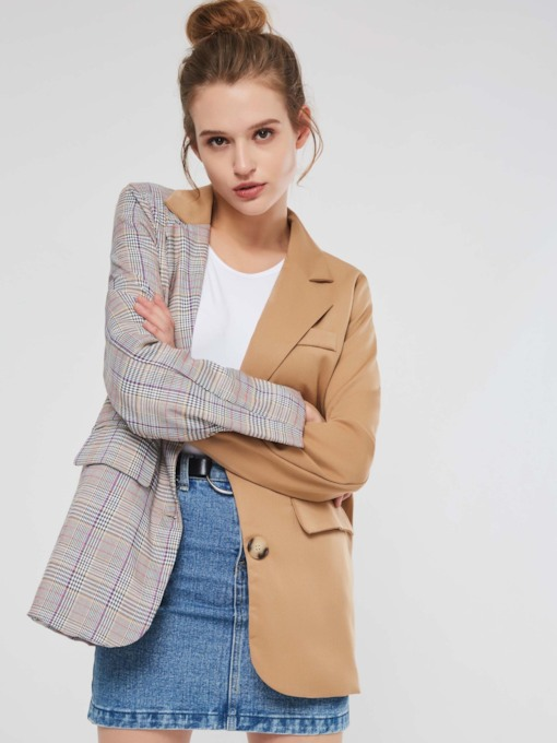 Notched Lapel Color Block Plaid Single-Breasted Women's Jacket