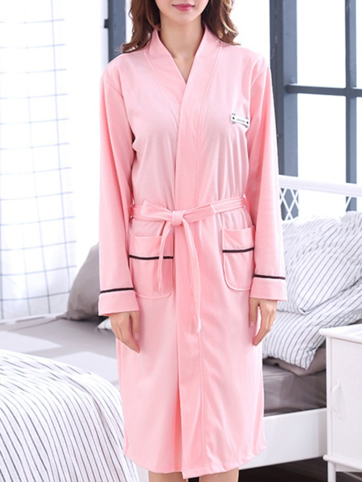 Plain Pocket Simple Women's Night Robe